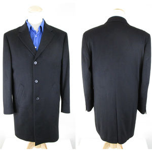 Jos. A Bank Black Pure Cashmere Topcoat Overcoat
